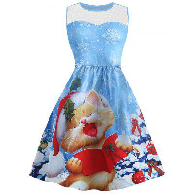 Buy BLUE M Christmas Snowflake Cat Print Mesh Panel Dress for $27.79 in GearBest store