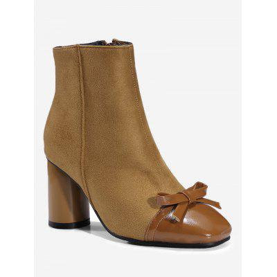 Chunky Heel Bowknot Ankle Boots