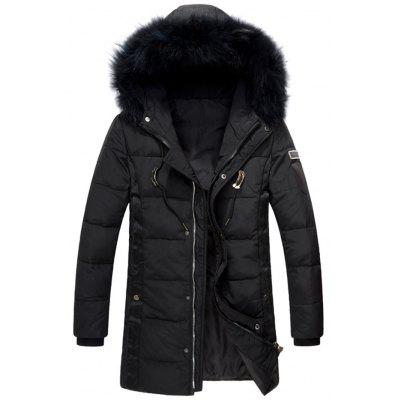 Zip Up Hooded Quilted Down Coat