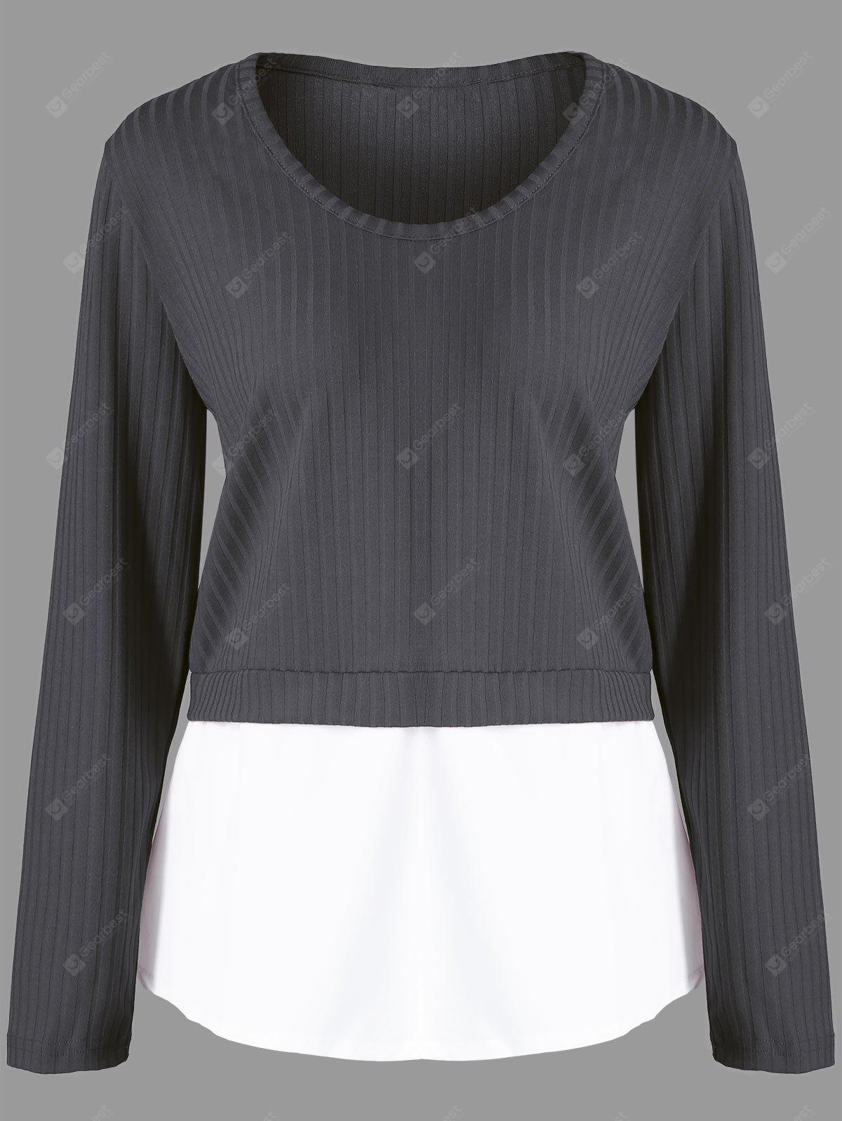 Plus Size Panel Knitted Ribbed Sweater
