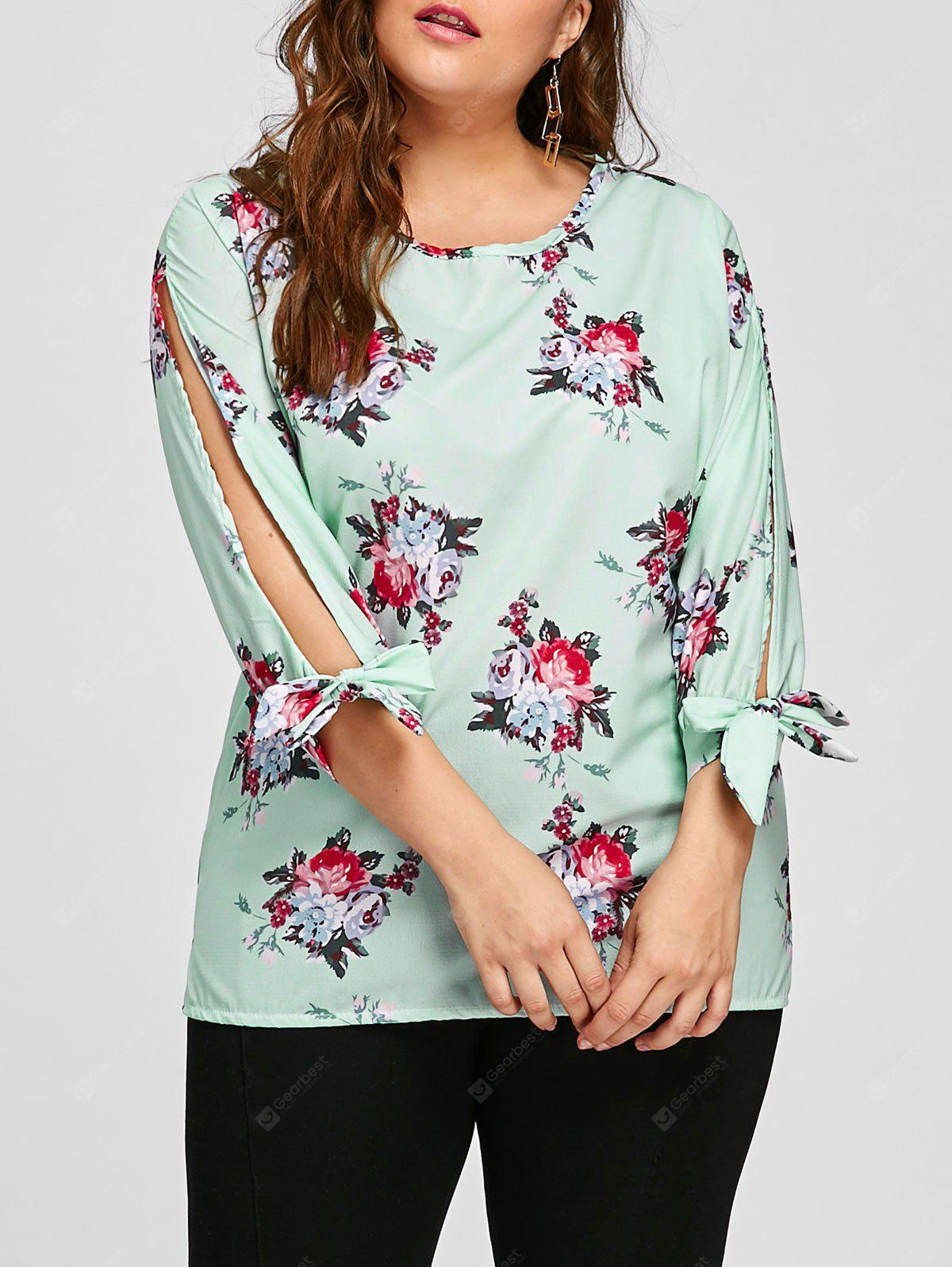 Plus Size Floral Bow Tie Sleeve Blouse