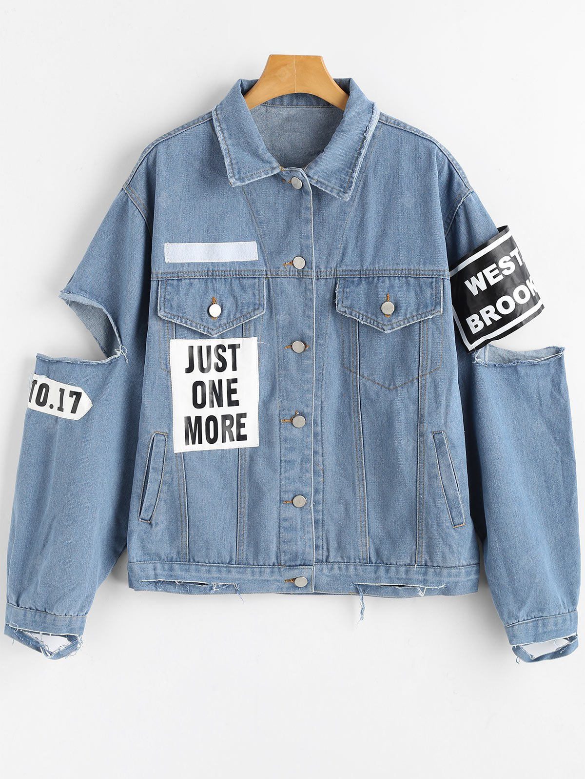 Button Up Letter Patched Ripped Denim Jacket