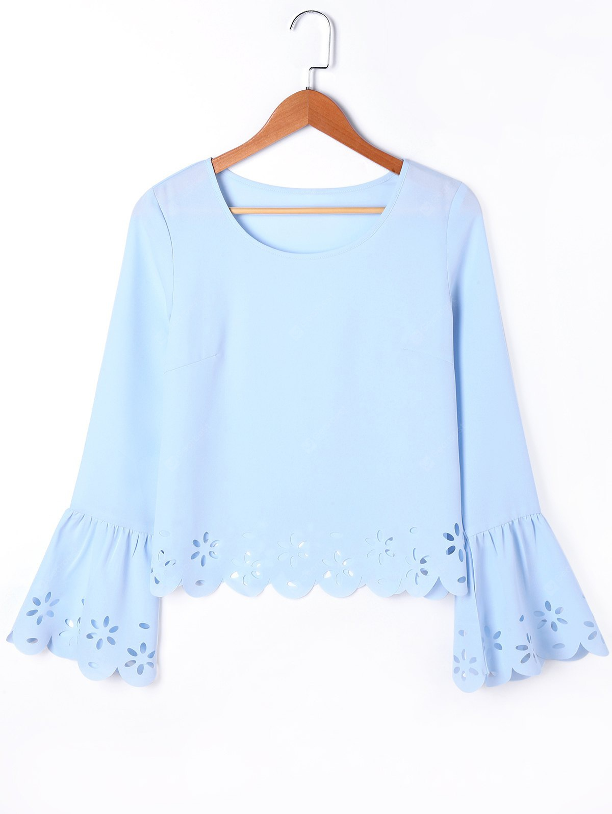 Hollow Out Flare Sleeve Scalloped Blouse
