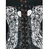 Back Lace Up Wings Print Long Sleeve T-shirt - BLACK