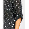 Plus Size Chiffon Polka Dot Button Up Blouse - BLACK
