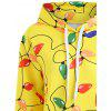 Christmas Light Party Kangaroo Pocket Hoodie - YELLOW