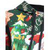 Plus Size Merry Christmas Santa Claus Elk Hoodie - GREEN