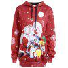 Christmas Santa Claus Snowman Plus Size Hoodie - RED