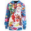 Plus Size Christmas Santa Claus Elk Hoodie - LIGHT BLUE