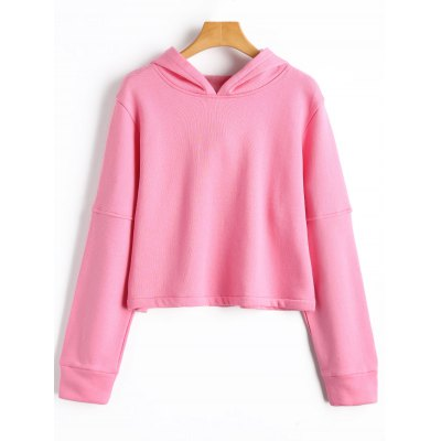 Buy PINK L Cropped Fleece Hoodie for $25.43 in GearBest store
