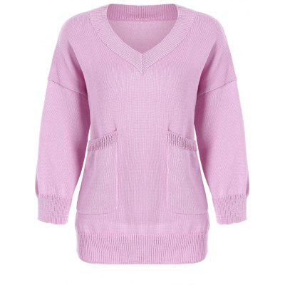 Plus Size V  Neck Two Pockets Cocoon Sweater