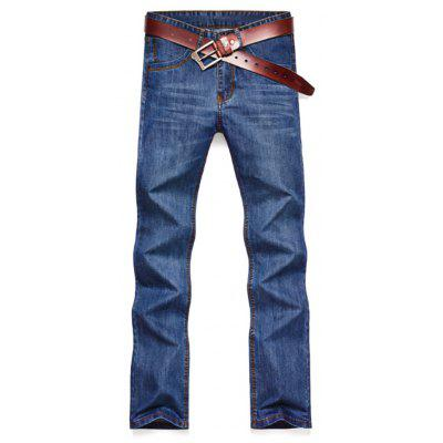 Buy BLUE 40 Faded Wash Denim Slim Fit Jeans for $26.44 in GearBest store