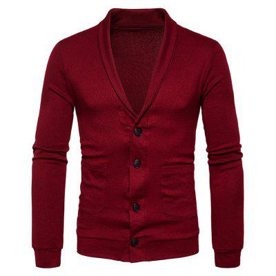 Buy WINE RED M Turndown Collar Button Up Pockets Cardigan for $23.52 in GearBest store