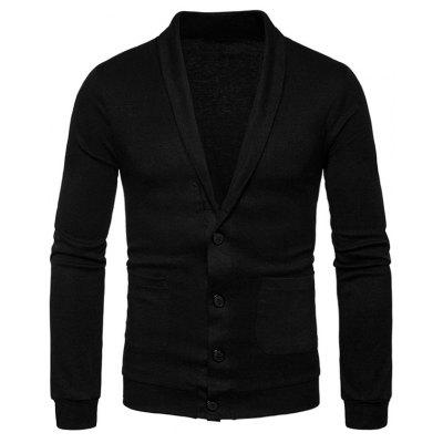 Buy BLACK M Turndown Collar Button Up Pockets Cardigan for $23.52 in GearBest store
