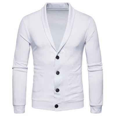 Buy WHITE L Turndown Collar Button Up Pockets Cardigan for $23.52 in GearBest store