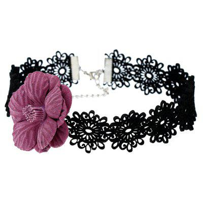 Fake Flower Decorated Lace Choker