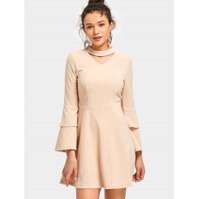 Buy APRICOT M Layered Flare Sleeve Mini Keyhole Dress for $34.08 in GearBest store
