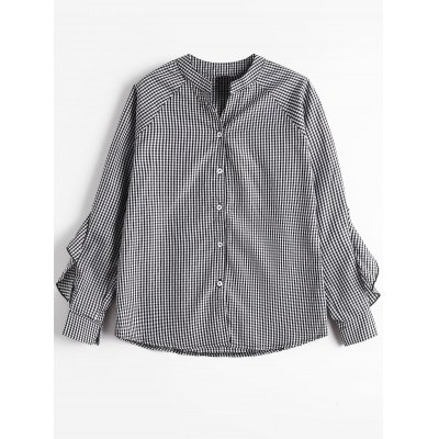 Buy CHECKED Button Up Ruffle Trim Checked Blouse for $21.95 in GearBest store