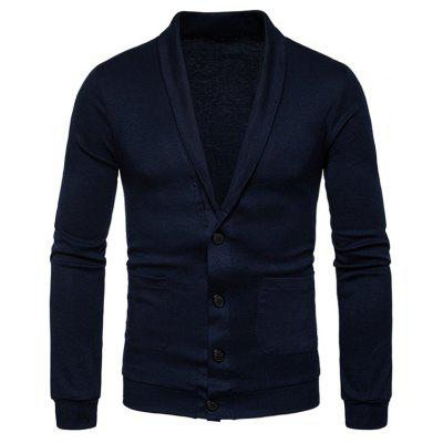 Buy CADETBLUE 2XL Turndown Collar Button Up Pockets Cardigan for $23.52 in GearBest store