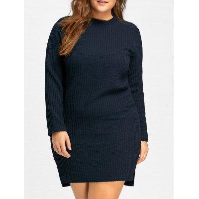 Buy ROYAL 3XL Plus Size Mock Neck Long Sleeve Bodycon Dress for $22.97 in GearBest store