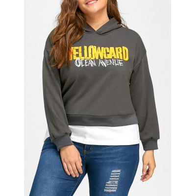 Plus Size Yellow Card Contraste Pullover Sudadera