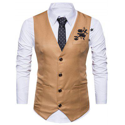 V Neck Floral Embroidered Single Breasted Waistcoat