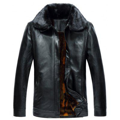 Buy BLACK 5XL Faux Fur Collar Zip Up Fleece PU Leather Jacket for $72.76 in GearBest store