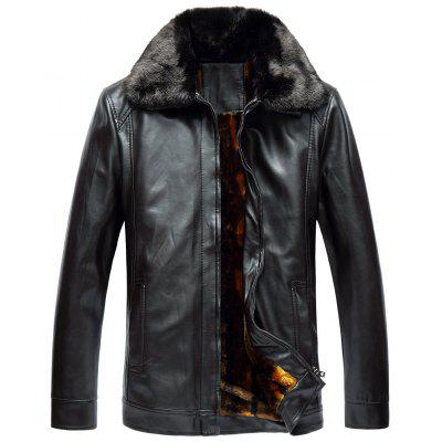 Buy ESPRESSO 2XL Faux Fur Collar Zip Up Fleece PU Leather Jacket for $72.76 in GearBest store