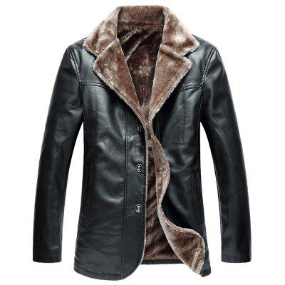 Buy BLACK 3XL Turndown Collar Single Breasted Fleece PU Leather Jacket for $70.25 in GearBest store