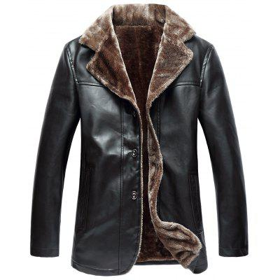 Buy ESPRESSO 2XL Turndown Collar Single Breasted Fleece PU Leather Jacket for $70.25 in GearBest store