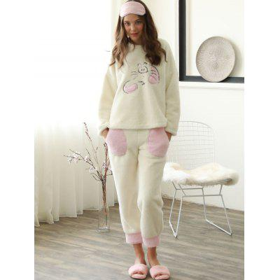 Cute Embroidered Flannel Pajamas