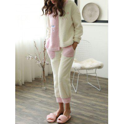 Cute Two Tone Embroidered Flannel Pajamas