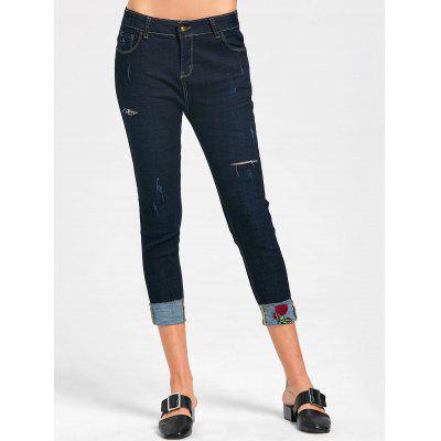 Ripped Capri Jeans with Rose Embroidery