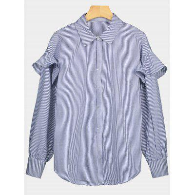 Buy STRIPE L Button Up Ruffle Trim Striped Shirt for $24.99 in GearBest store