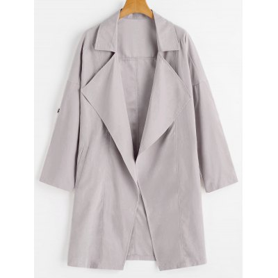 Buy PALE PINKISH GREY S Lapel Drop Shoulder Trench Coat for $29.04 in GearBest store