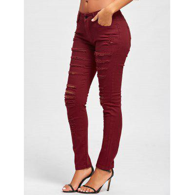 Distressed High Rise Skinny Colored JeansJeans<br>Distressed High Rise Skinny Colored Jeans<br><br>Embellishment: Ripped<br>Fit Type: Skinny<br>Length: Normal<br>Material: Cotton, Polyester<br>Package Contents: 1 x Jeans<br>Waist Type: High<br>Wash: Colored<br>Weight: 0.4200kg