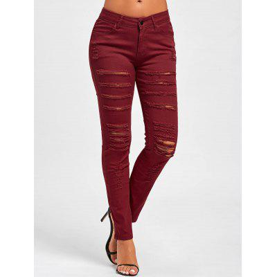 Distressed High Rise Skinny Colored Jeans