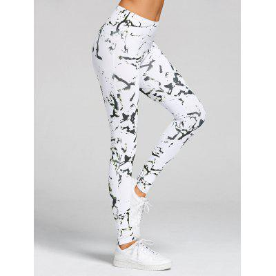 Buy WHITE L High Waist Printed Skinny Gym Leggings for $21.91 in GearBest store