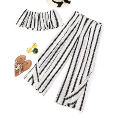 Stripes Tube Top y Wide Leg High Slit Pants