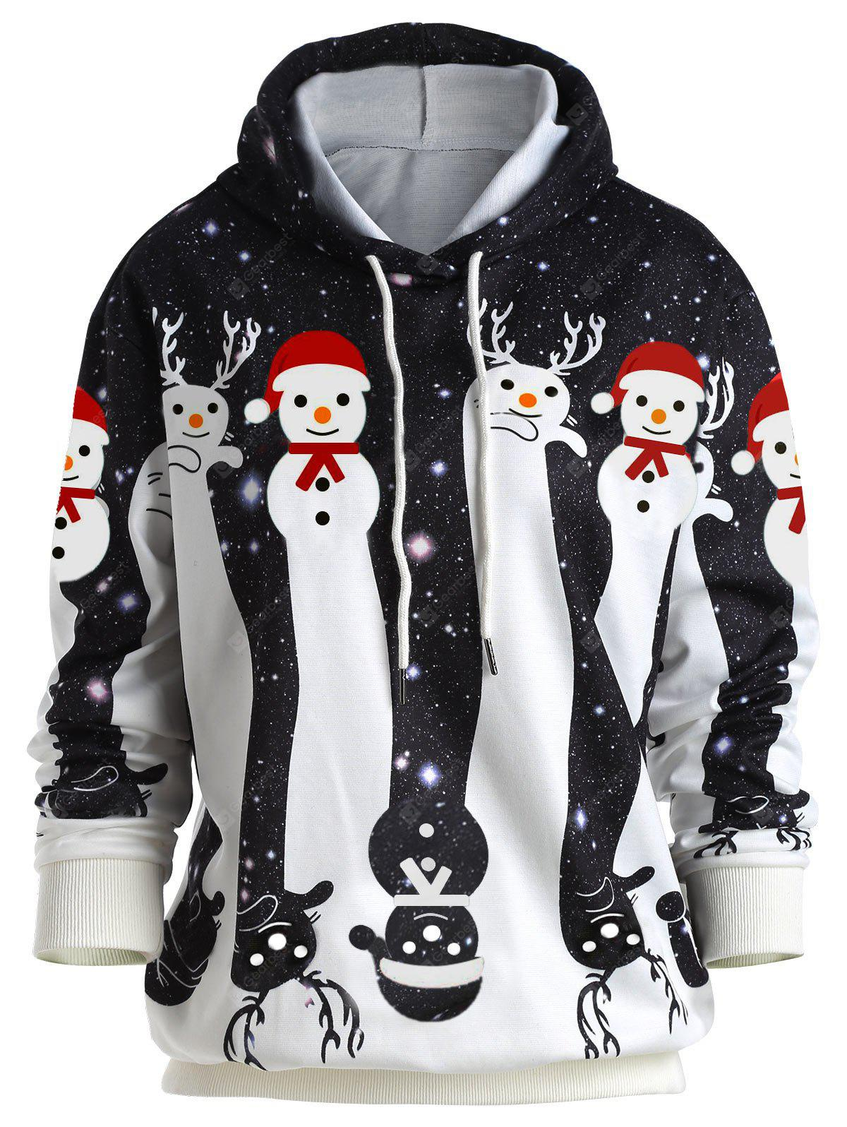 Christmas Cartoon Snowman Galaxy Print Hoodie