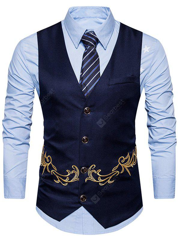 V Neck Single Breasted Embroidered Belt Waistcoat