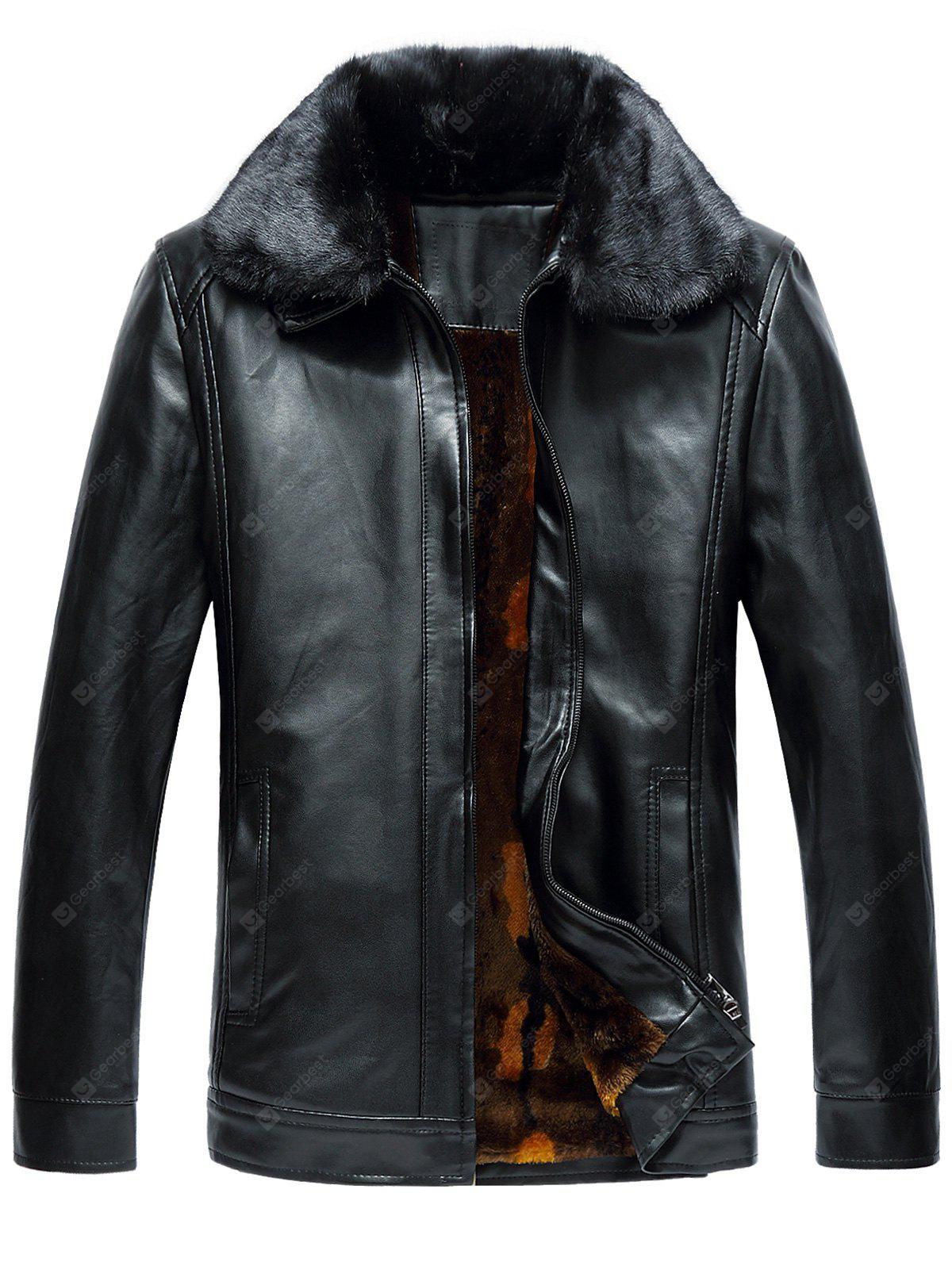 BLACK 2XL Faux Fur Collar Zip Up Fleece PU Leather Jacket