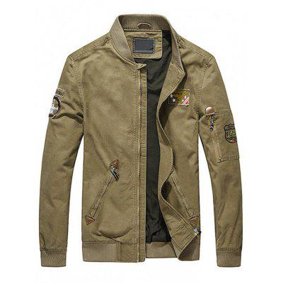 Buy KHAKI M Map Embroidered Patch Mens Jacket for $54.55 in GearBest store