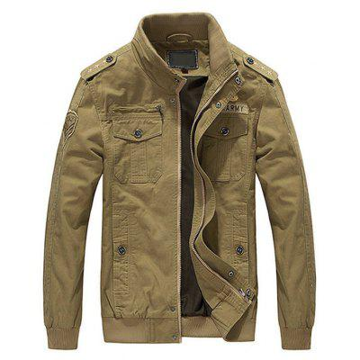 Buy KHAKI 4XL Embroidered Patch Mens Jacket for $57.63 in GearBest store