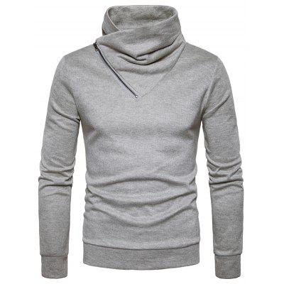 Buy LIGHT GRAY S Cowl Neck Oblique Zipper Knit Sweater for $25.47 in GearBest store
