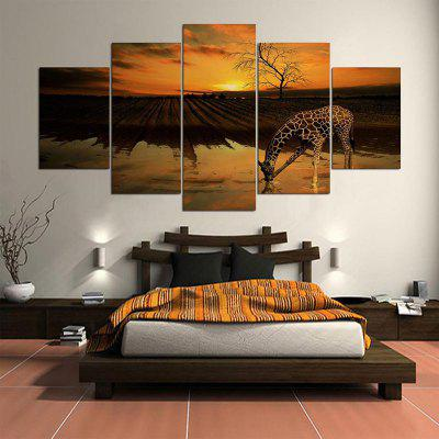 Giraffe Field Pattern Wall Art Split Unframed Canvas Paintings