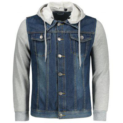 Buy BLUE 3XL Button Up Hooded Denim Jacket for $41.07 in GearBest store