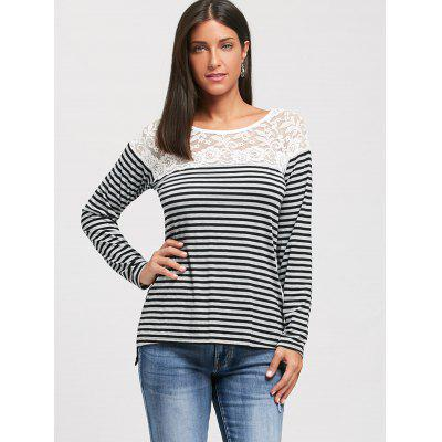 Lace Panel Long Raglan Sleeve Striped T-shirtBlouses<br>Lace Panel Long Raglan Sleeve Striped T-shirt<br><br>Collar: Scoop Neck<br>Elasticity: Elastic<br>Embellishment: Lace,Panel<br>Material: Polyester, Spandex<br>Package Contents: 1 x T-shirt<br>Pattern Type: Striped<br>Season: Winter, Spring, Fall<br>Shirt Length: Regular<br>Sleeve Length: Full<br>Sleeve Type: Raglan Sleeve<br>Style: Casual<br>Weight: 0.2400kg