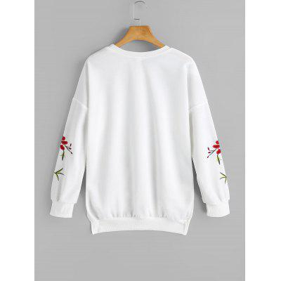 High Low Embroidered Sleeve SweatshirtSweatshirts &amp; Hoodies<br>High Low Embroidered Sleeve Sweatshirt<br><br>Clothing Style: Sweatshirt<br>Material: Cotton, Polyester<br>Package Contents: 1 x Sweatshirt<br>Pattern Style: Floral<br>Shirt Length: Regular<br>Sleeve Length: Full<br>Weight: 0.4200kg