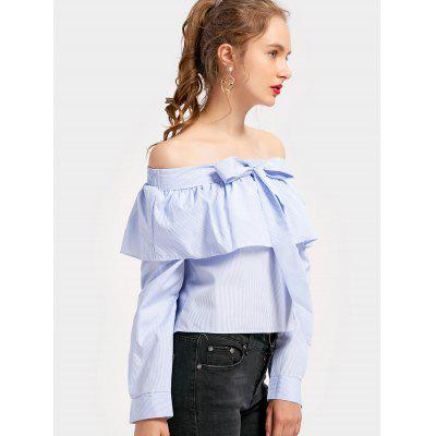 Off Shoulder Bowknot Flounce Striped BlouseBlouses<br>Off Shoulder Bowknot Flounce Striped Blouse<br><br>Collar: Off The Shoulder<br>Embellishment: Bowknot<br>Material: Polyester<br>Occasion: Casual<br>Package Contents: 1 x Blouse<br>Pattern Type: Striped<br>Shirt Length: Regular<br>Sleeve Length: Full<br>Style: Casual<br>Weight: 0.2400kg